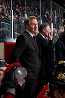 KELOWNA, BC - MARCH 02:  Portland Winterhawks' head coach Mike Johnston stands on the bench with assistant coach Don Hay against the Kelowna Rockets at Prospera Place on March 2, 2019 in Kelowna, Canada. (Photo by Marissa Baecker/Getty Images)