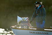 Putney, Greater London, United Kingdom.   Trial eight, umpire, Sarah WINCKLESS, before the start of the 2013 Women's University Trial Eights  Thursday  19/12/2013 [Mandatory Credit; Peter Spurrier/Intersport-images]