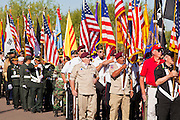 30 MAY 2011 - PHOENIX, AZ: The Parade of Colors, made up of Honor Guard units from across the Phoenix area during Memorial Day services in the National Memorial Cemetery in Phoenix, AZ, Monday. Memorial Day was celebrated with services across the United States Monday.    Photo by Jack Kurtz