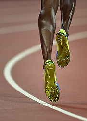 25-08-2015 CHN: IAAF World Championships Athletics day 4, Beijing<br /> Shoes of Usain Bolt JAM during 200 m.<br /> Photo by Ronald Hoogendoorn / Sportida