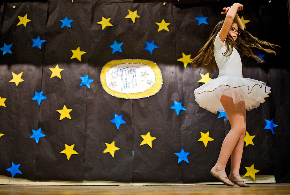 (staff photo by Matt Roth)..Emilly Capperella dances during Carney Elementary School's talent show Thursday, April 16, 2009...