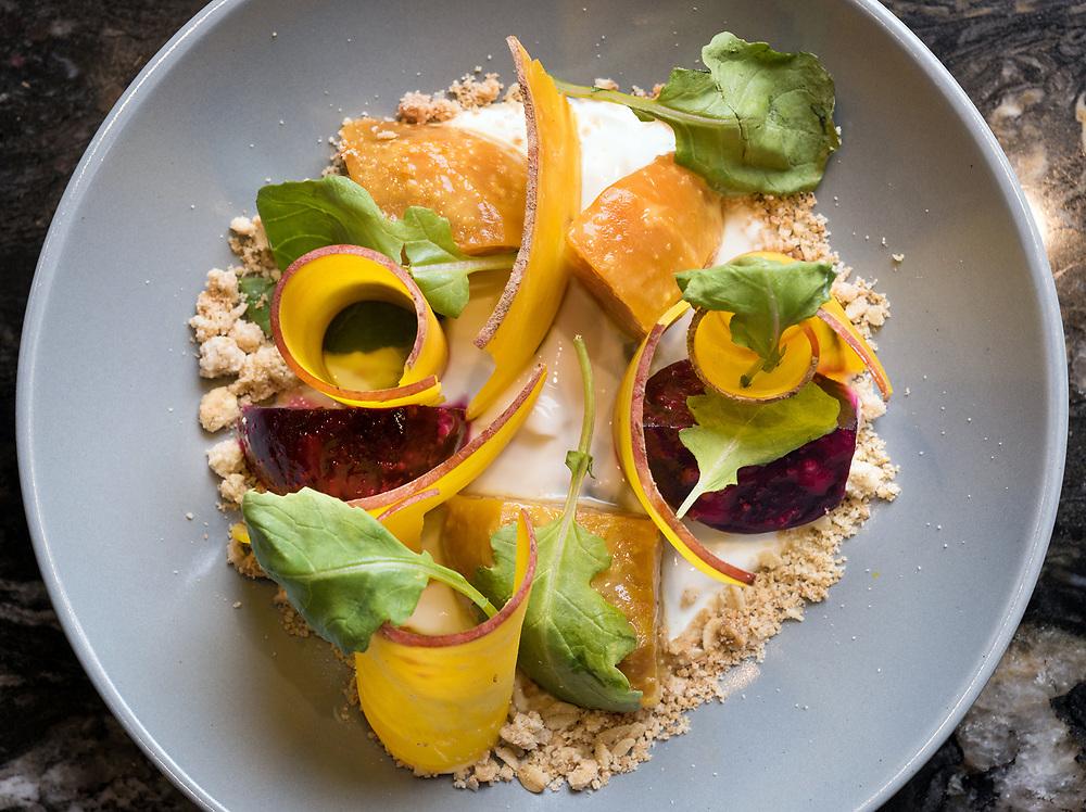 Photo by Mara Lavitt<br /> Essex, CT<br /> November 28, 2017<br /> Photography: ©Mara Lavitt<br /> <br /> The Essex restaurant in Essex. Roasted Beet Salad.