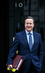 © Licensed to London News Pictures. 09/03/2016. London, UK. Prime Minister David Cameron leaving Downing Street to attend Prime Minister's Question Time in London on Wednesday, 9 March 2016. Photo credit: Tolga Akmen/LNP