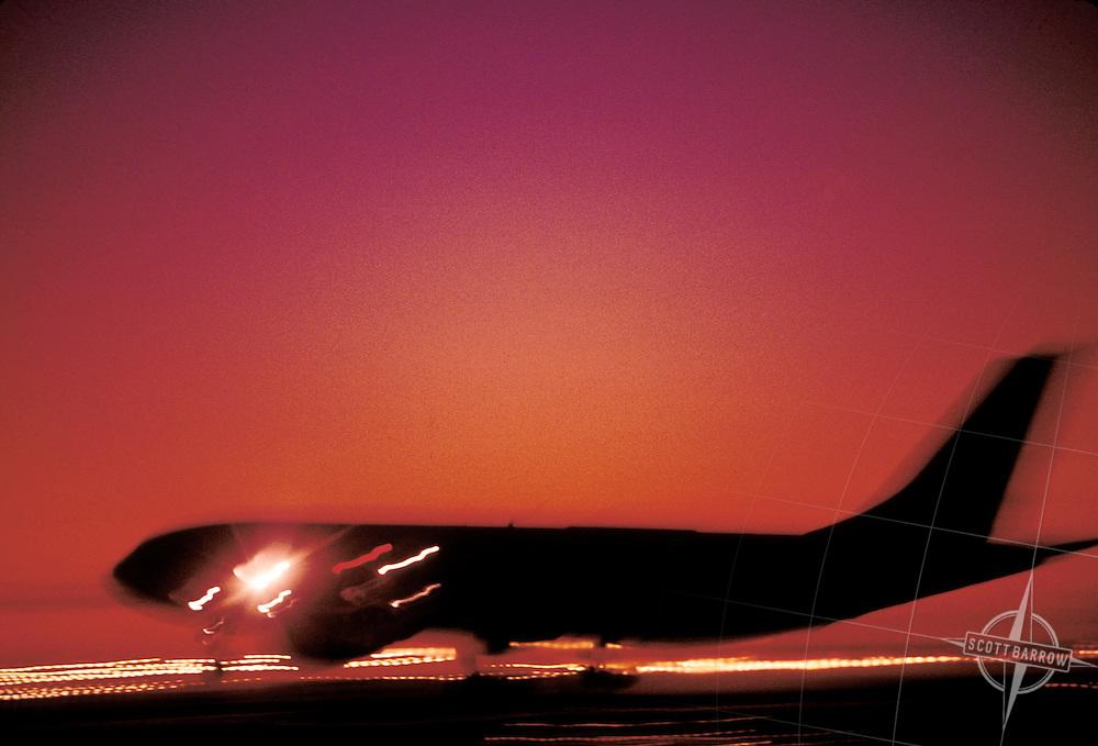 Boeing 767 Landing at night
