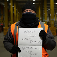 Kauser Mirhakim. He is pictured Inside Amazon Fulfillment Center Man 3 Near Bolton.  He has worked at Amazon for 2 years, He is from Oldham. He was asked to write two ways she felt the COVID 19 Lockdown had impacted himself.