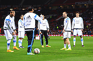 Pablo Zabaleta of Argentina smiles during warm up - Argentina vs. Portugal - International Friendly - Old Trafford - Manchester - 18/11/2014 Pic Philip Oldham/Sportimage