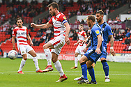 Andrew Butler of Doncaster Rovers (6) brings the ball down in the area from a corner during the EFL Sky Bet League 1 match between Doncaster Rovers and Gillingham at the Keepmoat Stadium, Doncaster, England on 20 October 2018.