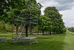© Licensed to London News Pictures. 11/05/2018. WINDSOR, UK.  One of several towers being built on The Long Walk for police snipers as security preparations continue in Windsor for the upcoming wedding between Prince Harry and Meghan Markle on 19 May.  Thousands of people are expected to visit the town for what has been billed as the wedding of the year.  Photo credit: Stephen Chung/LNP