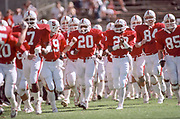 COLLEGE FOOTBALL:  The Stanford Cardinal football team runs onto the field in October 1983 at Stanford Stadium in Palo Alto, California.  Visible players include Greg Baty #84, Thomas Henley #20, Joe Cain #7, Jeffrey James #3, Mike Noble #94.  Photograph by David Madison   www.davidmadison.com .