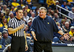 Dec 1, 2018; Morgantown, WV, USA; West Virginia Mountaineers head coach Bob Huggins argues a call during the first half against the Youngstown State Penguins at WVU Coliseum. Mandatory Credit: Ben Queen-USA TODAY Sports