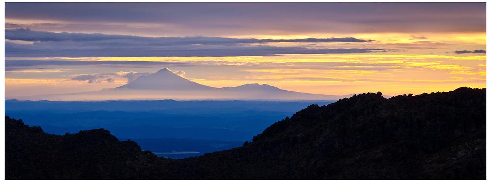 Mt Taranaki from the Red Crater, Tongariro National Park.