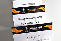 NYON, SWITZERLAND - Friday, July 10, 2020: The draw card for Eintracht Frankfurt and FC Basel pictured before the Europa League pictured before the UEFA Champions League and UEFA Europa League 2019/20 draws for the Quarter-final, Semi-final and Final at the UEFA headquarters, The House of European Football. (Photo Handout/UEFA)