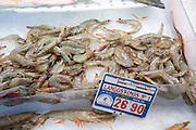 Raw prawns on ice at fishmongers at Playa Blanca, Lanzarote, Canary Islands, Spain