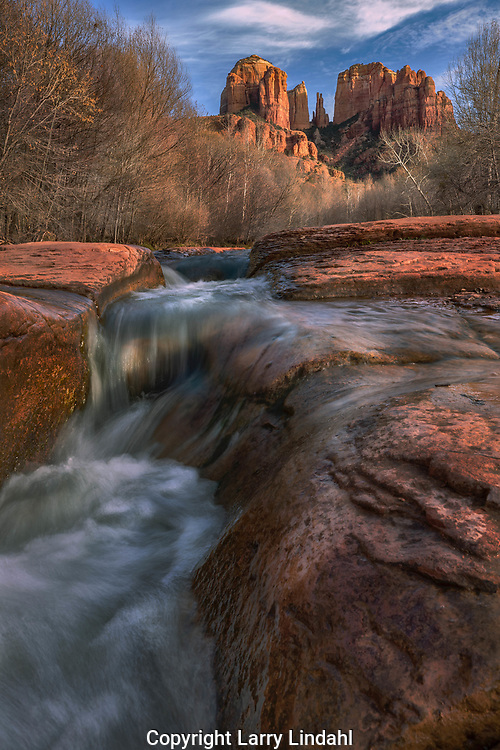 Cathedral Rock, Oak Creek Canyon, Arizona, Crescent Moon, Red Rock Crossing, Coconino National Forest, waterfall, autumn