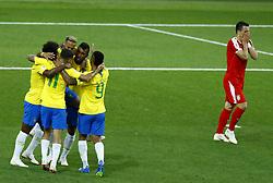 June 27, 2018 - Moscow, Russia - Group E Serbia v Brazil - FIFA World Cup Russia 2018.Brazil celebration after Paulinho scored the goal of 0-1 at Spartak Stadium in Moscow, Russia on June 27, 2018. (Credit Image: © Matteo Ciambelli/NurPhoto via ZUMA Press)