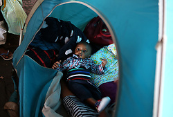 South Africa - Cape Town - 08 October 2020 - Refugee baby at the refugee settlement at Paint City Bellville where they have been housed for the duration of the lockdown. The group of refugees from various countries in Africa has been protesting for a year, asking the UNHCR for assistance to leave South Africa because they fear for there safety and the safety of their families. Picture: Brendan Magaar/African News Agency(ANA)