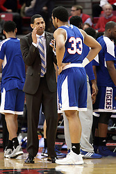 22 December 2015: Dana Ford speaks with Wayne Martin(33) during a time out. Illinois State Redbirds host the Tennessee State Tigers at Redbird Arena in Normal Illinois (Photo by Alan Look)