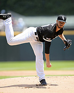 CHICAGO - JULY 03:  Dylan Cease #84 of the Chicago White Sox pitches during his Major League debut against the Detroit Tigers on July 3, 2019 at Guaranteed Rate Field in Chicago, Illinois.  Cease also earned his first Major League win, defeating the Tigers 7-5.  (Photo by Ron Vesely)  Subject:  Dylan Cease