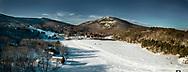 Aerial of Frozen Hossamer Pond and Camden Snow Bowl
