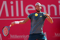 May 4, 2018 - Estoril, Portugal - Joao Sousa of Portugal returns a ball to Kyle Edmund of Great Britain during the Millennium Estoril Open ATP 250 tennis tournament quarterfinals, at the Clube de Tenis do Estoril in Estoril, Portugal on May 4, 2018. (Credit Image: © Pedro Fiuza via ZUMA Wire)