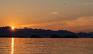 Sunset over the Chilkat Range in Southeast Alaska. Summer.