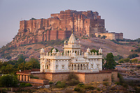 JODHPUR, INDIA - CIRCA NOVEMBER 2018: Jaswant Thada Memorial and the Mehrangarh Fort in Jodphur. odhpur is the second largest city in the Indian state of Rajasthan. Jodhpur is a popular tourist destination, featuring many palaces, forts and temples, set in the stark landscape of the Thar Desert. It is popularly known as Blue city and Sun city among people of Rajasthan and all over India