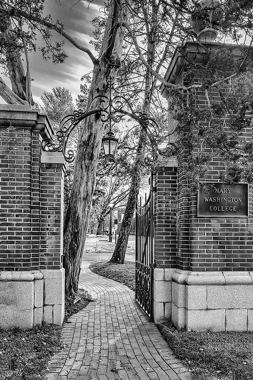 The old Mary Washington College gate on the University of Mary Washington campus in Fredericksburg, VA.