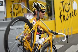 01.07.2012, Luettich, BEL, Tour de France, 1. Etappe Luettich-Seraing, im Bild CANCELLARA Fabian (RadioShack Nissan) posiert mit seinem gelben Rennrad // during the Tour de France, Stage 1, Liege-Seraing, Belgium on 2012/07/01. EXPA Pictures © 2012, PhotoCredit: EXPA/ Eibner/ Ben Majerus..***** ATTENTION - OUT OF GER *****