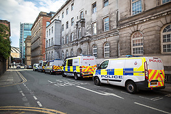 © Licensed to London News Pictures . 26/05/2019. Manchester, UK. Over 15 police cars and vans parked on streets adjacent to the count facility . The count for seats in the constituency of North West England in the European Parliamentary election , at Manchester Central convention centre . Photo credit: Joel Goodman/LNP