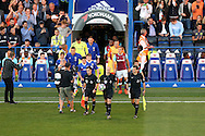 the two teams are lead out my Referee Anthony Taylor from the tunnel before k/o. Premier league match, Chelsea v West Ham United at Stamford Bridge in London on Monday 15th August 2016.<br /> pic by John Patrick Fletcher, Andrew Orchard sports photography.