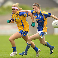 1 August 2011; Eimear Considine, Clare, in action against Claire Carroll, Tipperary. TG4 Ladies Football Senior Championship – Round 1 Qualifier, Clare v Tipperary, Birr, Co. Offaly. Picture credit: Paul Mohan / SPORTSFILE *** NO REPRODUCTION FEE ***