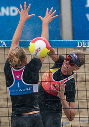Sanne Keizer in action. The DELA NK Beach volleyball for men and women will be played in The Hague Beach Stadium on the beach of Scheveningen on 22 July 2020 in Zaandam.