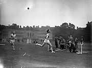 21/09/1957<br /> 09/21/1957<br /> 21 September 1957<br /> Athletics - Ireland V Scotland in College Park, Trinity College, Dublin. runners cross the finish line.