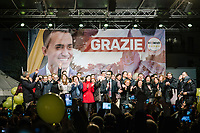 POMIGLIANO D'ARCO, ITALY - 6 MARCH 2018: Luigi Di Maio, leader of the Five Star Movement, who returned to his his hometown to celebrate the movement's victory in the 2018 Italian General Elections, gives a speech with all the elected laymakers of the movement from the Campania region, in front of his supporters and  fellow citizens in Pomigliano D'Arco, Italy, on March 6th 2018.<br /> <br /> The Five-Star Movement, became the first party in Italy, with 33 percent of the vote.
