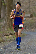 Gardiner, New York - Dylan Armajani runs in the Rock the Ridge 50-mile endurance challenge race at the Mohonk Preserve on May 4, 2013. The race is part of Mohonk's 50th anniversary celebration and a fundraiser for the preserve. Armajani placed second.