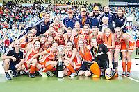 MONCHENGLADBACH  -  Vreugde bij Oranje  , zaterdag na de  gewonnen finale bij de Europese Kampioenschappen hockey vrouwen  tussen Nederland en Duitsland (3-0), in het Duitse Monchengladbach.
