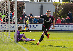 Arbroath's Ryan Wallace cele scoring their goal. half time : Brechin City 1 v 1 Arbroath, Scottish Football League Division One played 13/4/2019 at Brechin City's home ground Glebe Park.
