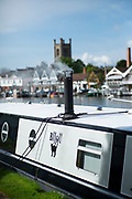 Henley on Thames. United Kingdom.   2018 Henley Royal Regatta, Henley Reach. <br />   <br /> Smoking Stack. Narrow boat moored on the  Berks side of the regatta courseCourse Construction<br /> <br /> Thursday  03/05/2018<br /> <br /> [Mandatory Credit: Peter SPURRIER:Intersport Images]<br /> <br /> Leica Camera AG  LEICA M (Typ 262)  f1.7  1/4000sec  mm  25.2MB