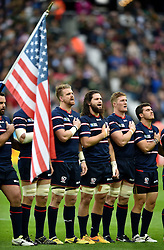 USA players sing their national anthem - Mandatory byline: Patrick Khachfe/JMP - 07966 386802 - 07/10/2015 - RUGBY UNION - The Stadium, Queen Elizabeth Olympic Park - London, England - South Africa v USA - Rugby World Cup 2015 Pool B.