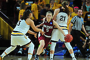 March 18, 2016; Tempe, Ariz;  New Mexico State Aggies forward Brook Salas (5) fights through a screen during a game between No. 2 Arizona State Sun Devils and No. 15 New Mexico State Aggies in the first round of the 2016 NCAA Division I Women's Basketball Championship in Tempe, Ariz. The Sun Devils defeated the Aggies 74-52.