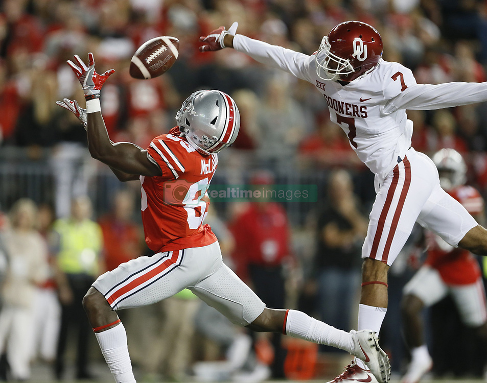 September 9, 2017 - Columbus, Ohio, U.S. - Oklahoma cornerback JORDAN THOMAS (7) breaks up a pass in the end zone intended for Ohio State wide receiver TERRY MCLAURIN (83) during the second quarter at Ohio Stadium. (Credit Image: © Adam Cairns/TNS via ZUMA Wire)