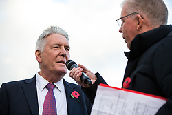 Sculptor Tom Murphy is interviewed by Dave Lloyd as a Statue of Bristol City legend John Atyeo is unveiled at the redeveloped Ashton Gate - Rogan Thomson/JMP - 05/11/2016 - FOOTBALL - Ashton Gate Stadium - Bristol, England - Bristol City v Brighton & Hove Albion - Sky Bet Championship.