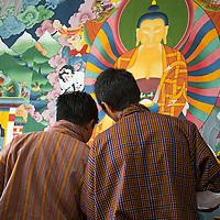 Asia, Bhutan, Thimpu. Students of Thangka painting at the Institute of Zorig Chusum.