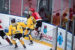 TOMAZEVIC Blaz vs Tommaso Traversa during Alps Hockey League match between HC Pustertal and HDD SIJ Jesenice, on April 3, 2019 in Ice Arena Podmezakla, Jesenice, Slovenia. Photo by Peter Podobnik / Sportida