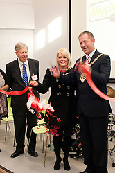 """Dr Peter Lee the President of the WHite Rose YMCA with  Mayor and Mayoress of Rotherham Cllr Shaun Wright JP and  Mrs Lisa Wright cut the ribon and officially open """"My Place"""" on St Annes Roundabout Rotherham Saturday Lunchtime.114619-1.26 November 2011  Image © Paul David Drabble"""