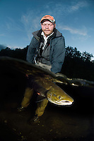 Atlantic Salmon, Salmo salar<br /> Flyfishing<br /> Modelname: Krister Hoel. Model release valid by the photographer.<br /> River Orkla, Rennebu, Norway. Photographed at catch/release fishing.