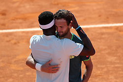 May 6, 2018 - Estoril, Portugal - Joao Sousa of Portugal (R ) hugs Frances Tiafoe of US after winning the Millennium Estoril Open ATP 250 tennis tournament final, at the Clube de Tenis do Estoril in Estoril, Portugal on May 6, 2018. (Credit Image: © Pedro Fiuza via ZUMA Wire)
