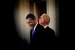 """File photo dated March 23, 2010 of US President Barack Obama and Vice President Joe Biden smile during the signing ceremony of the health insurance reform bill in the East Room in Washington, DC, USA, Former President Barack Obama endorsed Joe Biden, his two-term vice president, on Tuesday morning in the race for the White House. """"Choosing Joe to be my vice president was one of the best decisions I ever made, and he became a close friend. And I believe Joe has all the qualities we need in a president right now,"""" Obama said in a video posted to Twitter. Photo by Olivier Douliery/ABACAPRESS.COM"""