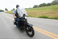Rowdy Schenck riding his 1928 Harley-Davidson JD duringStage 6 of the Motorcycle Cannonball Cross-Country Endurance Run, which on this day ran from Cape Girardeau to Sedalia, MO., USA. Wednesday, September 10, 2014.  Photography ©2014 Michael Lichter.