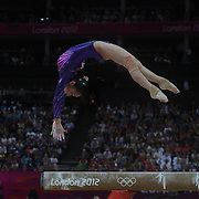 Linlin Deng, China, in action on the Balance Beam during the Women's Individual All-Around competition at North Greenwich Arena, during the London 2012 Olympic games. London, UK. 2nd August 2012. Photo Tim Clayton